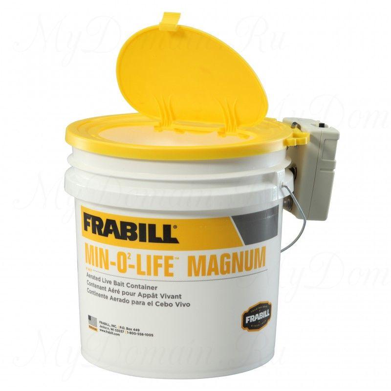 Ведро для живца Frabill MIN-O2-LIFE Aerator Bucket с аэратором, подходит для соленой воды, 16 л. (#1407)