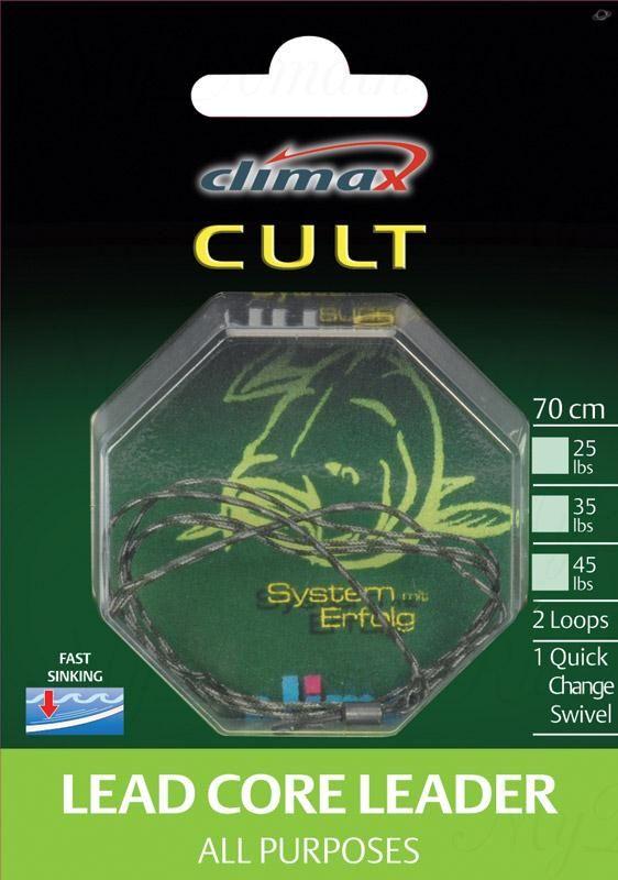 Поводок Сlimax Lead core Leader -All Purpose 90 cм, 25 lbs (weed) оборудован безузловой застежкой и петлей.
