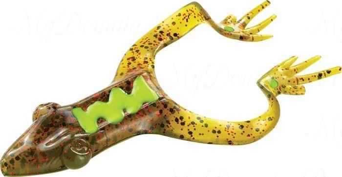 Лягушка MISTER TWISTER Hawg Frog 7 см уп. 8 шт.14RBK (прозрачно-зеленый с черными крапинками и красными блестками) фирменная упаковка