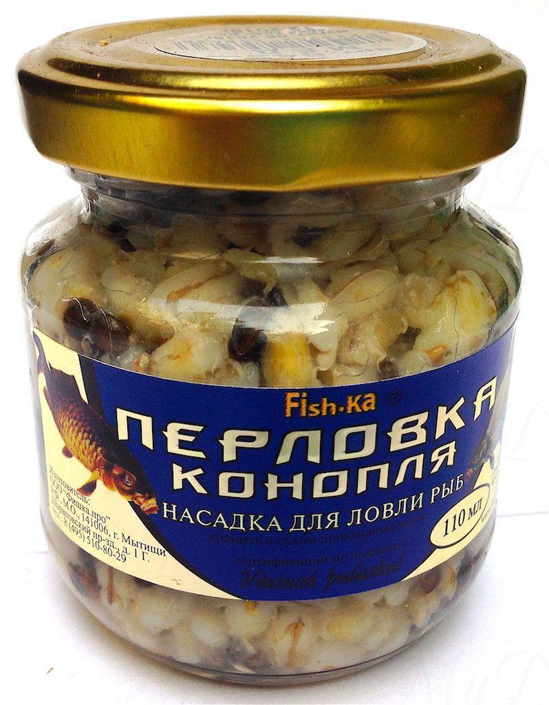 Консервированная натуральная насадка FISH.KA Перловка-Конопля (мед) объем 110 мл
