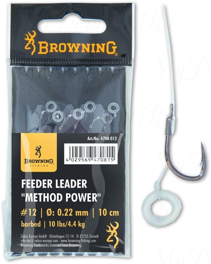 Крючки с поводками Browning Leader Feeder Method Power Pellet с крепежом для пелетса  №10 0,22mm 10cm 6 шт